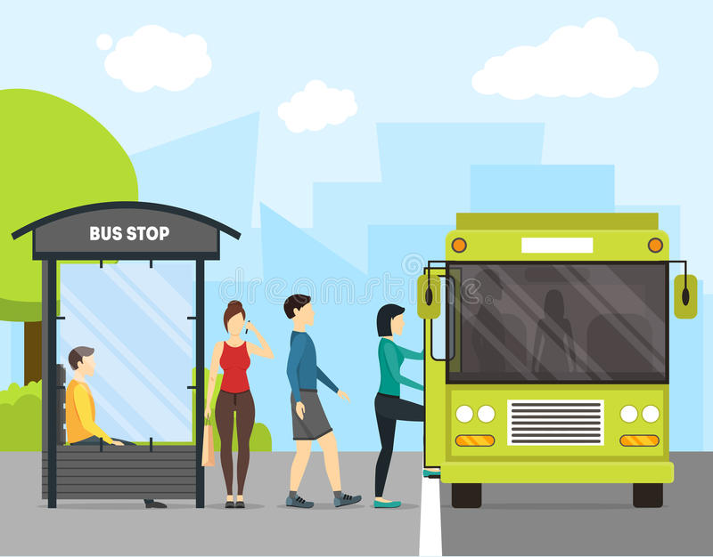 Cartoon Bus Stop with Transport and People. Vector vector illustration