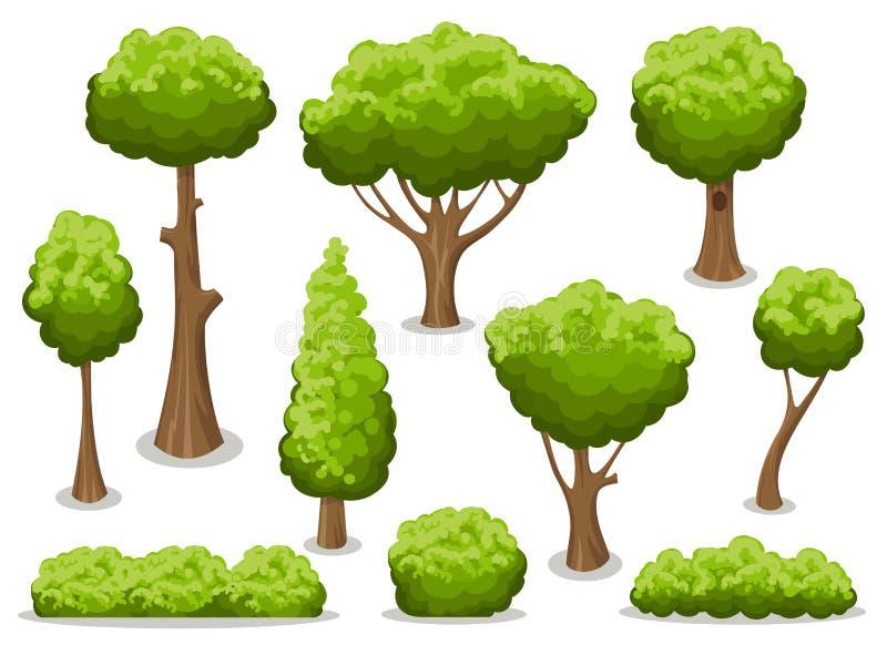 Cartoon bush and tree set vector illustration