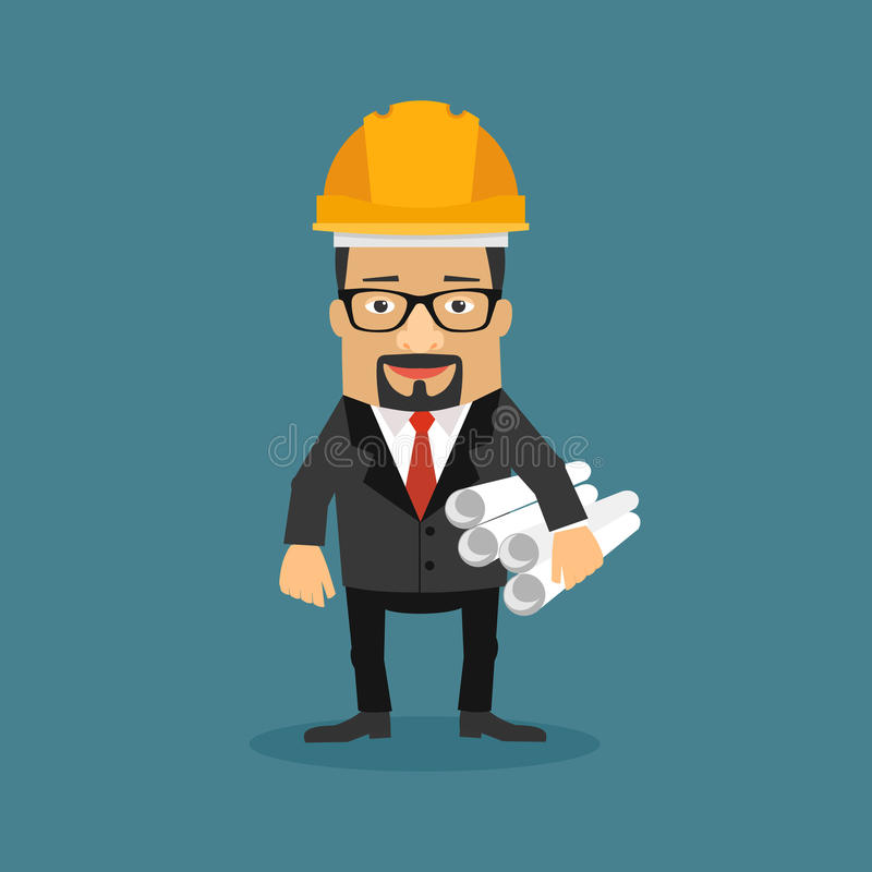 Cartoon Business Character, architecture developer vector illust vector illustration