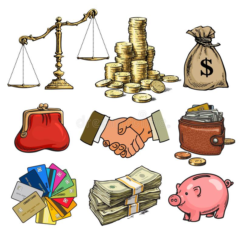 Cartoon business finance money set. Scales, stack of coins, sack of dollars, credit cards, handshake, paper money, purse vector illustration