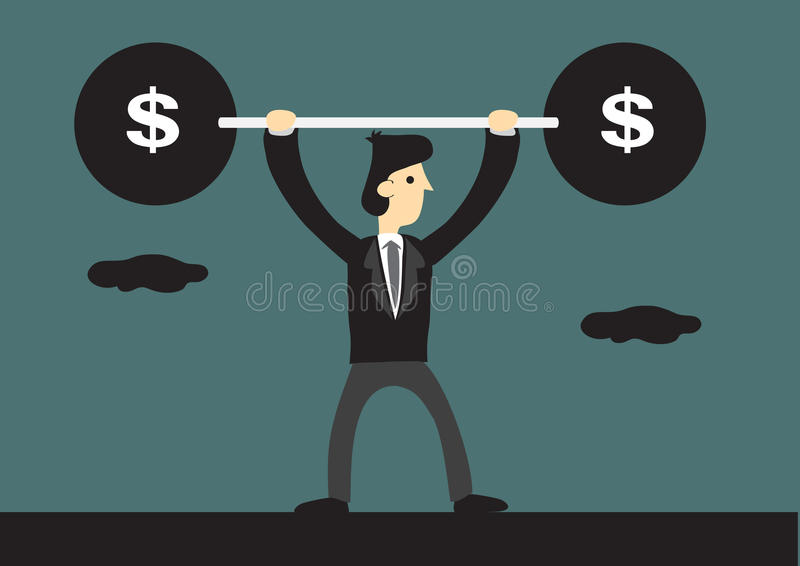 Cartoon Business Lifts Barbell with Dollar Sign. Skinny businessman lifts up heavy barbell with dollar sign. Creative cartoon vector illustration for business stock illustration