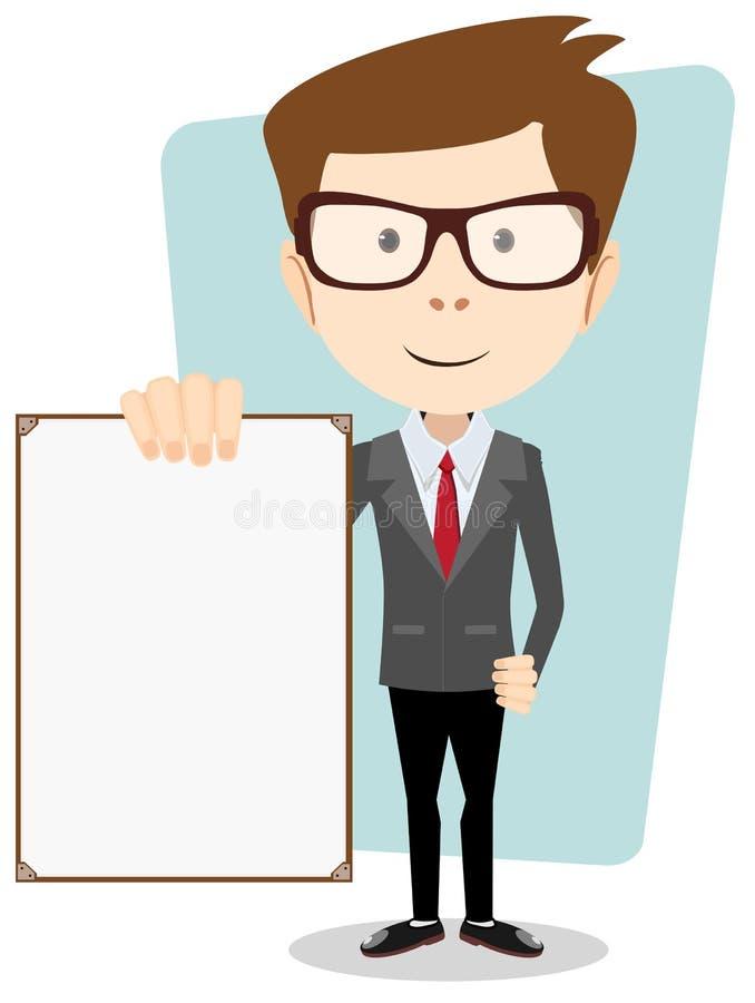 Cartoon business man explaining and pointing at. Vector illustration of a cartoon businessman explaining and pointing at blank white board . Stock vector royalty free illustration
