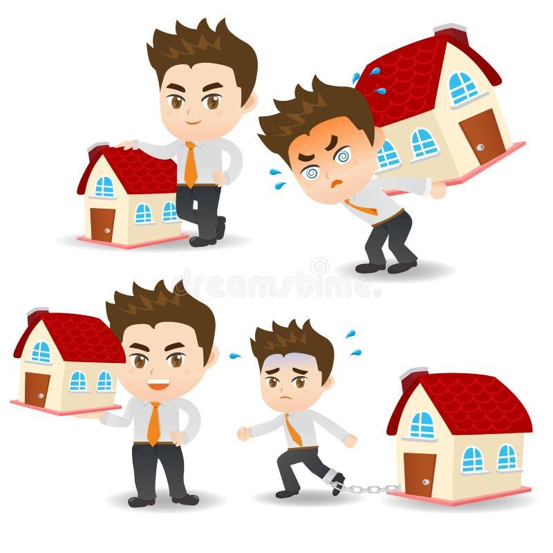 Cartoon Business man home loan royalty free illustration