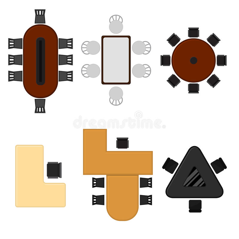 Cartoon Business Office Table Set Top View. Vector royalty free illustration