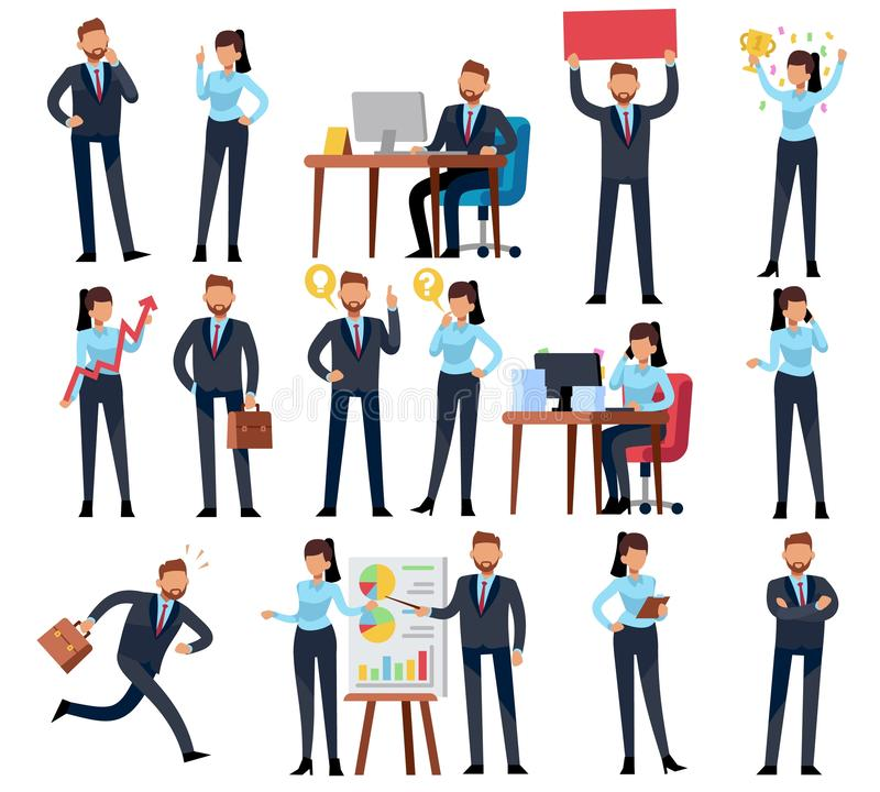 Cartoon business persons. Businessman professional woman in different office work situations. Vector characters set. Cartoon business persons. Businessman stock illustration