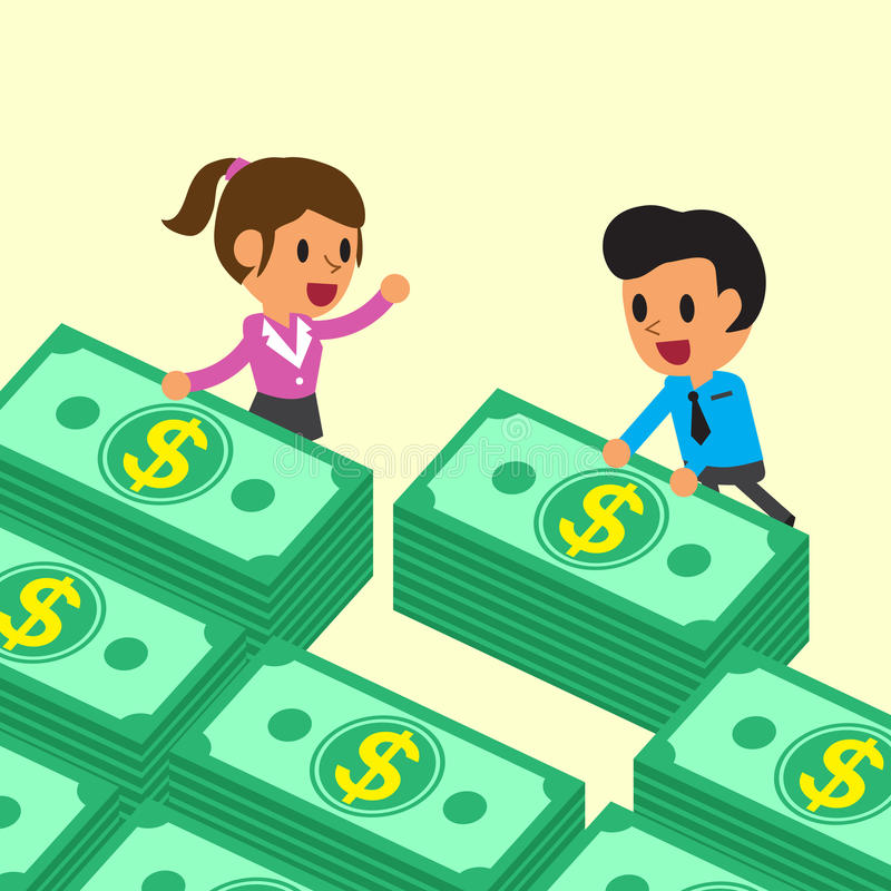 Cartoon business team with money stacks. For design vector illustration
