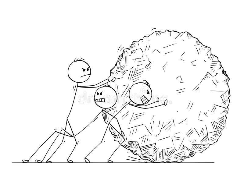 Cartoon of Business Team Pushing Big Stone Ball. Cartoon stick man drawing conceptual illustration of team of businessmen pushing big stone ball or rock stock illustration