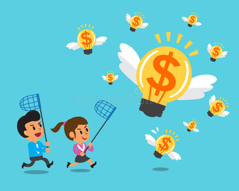 Cartoon business team running to catch money ideas. For design vector illustration