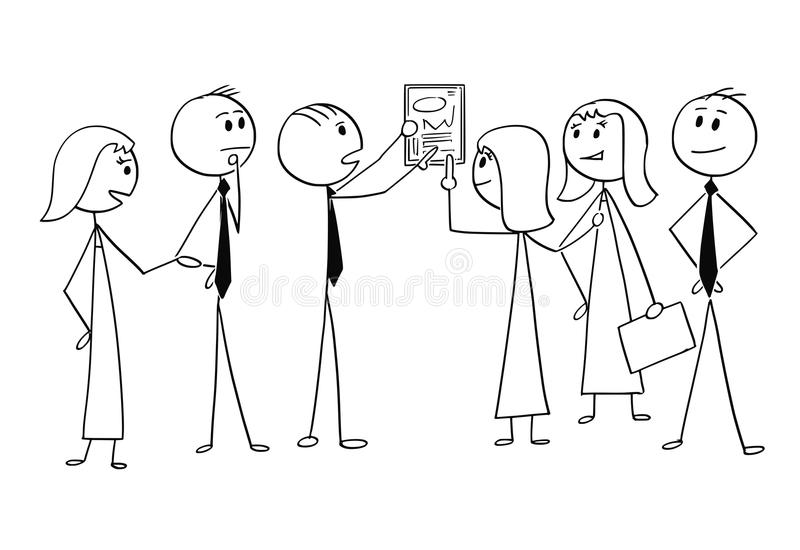 Cartoon of Business Team Working Together to Find Problem Solution stock illustration