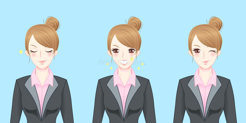 Cartoon business woman feel confident royalty free illustration