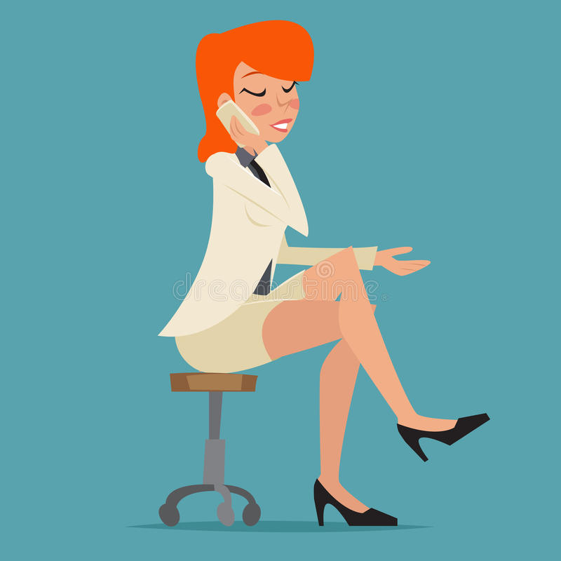 Cartoon Business Woman Happy Smiling Lady royalty free illustration