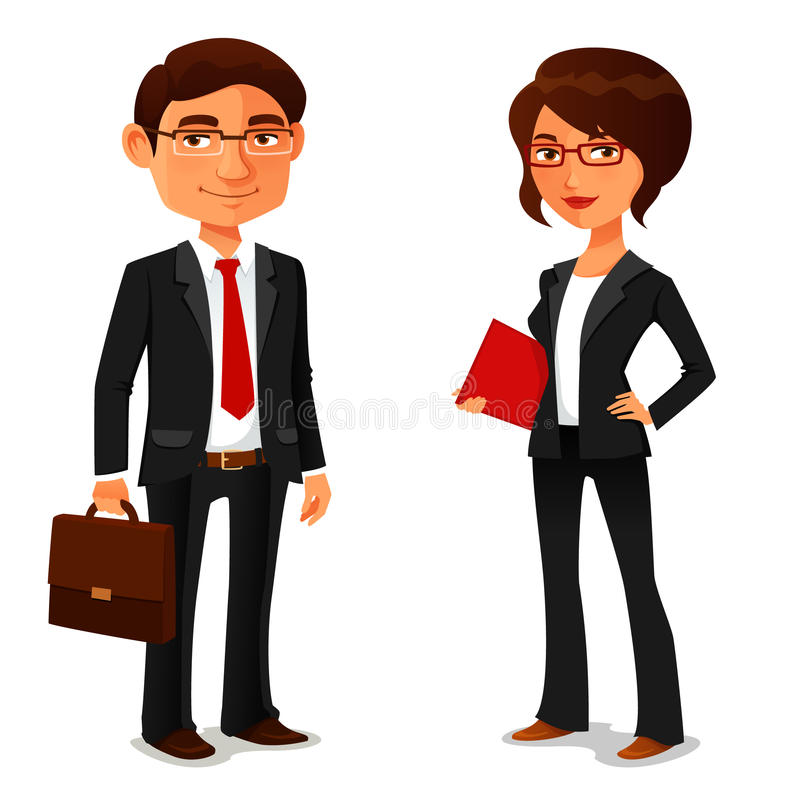Cartoon businessman and businesswoman vector illustration