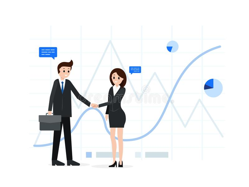 Smiling business people after successful bargaining. Cartoon businessman and businesswoman shaking hands vector illustration. Agreement collaboration concept vector illustration