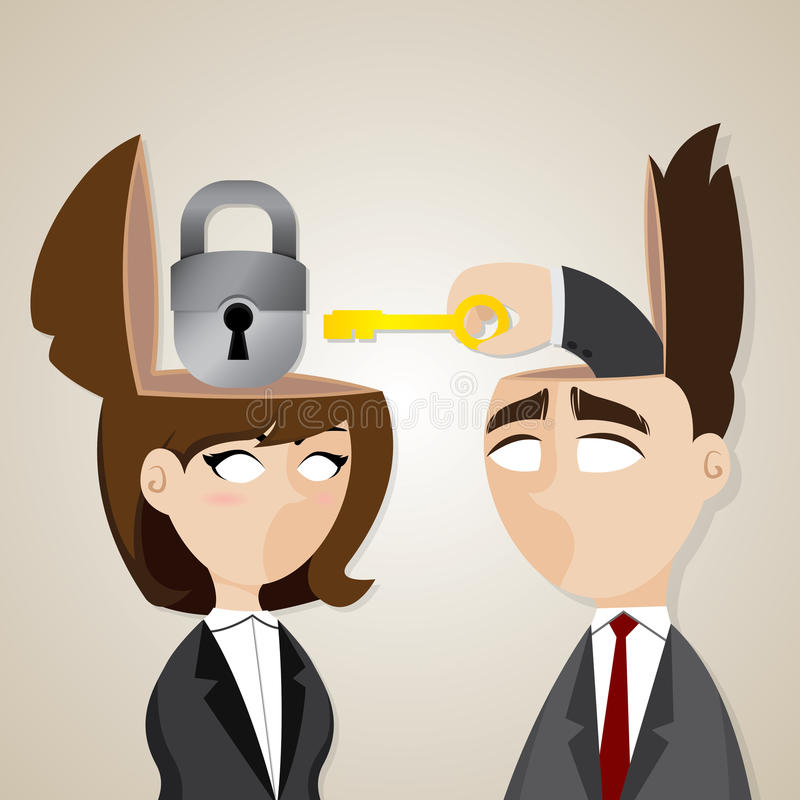 Cartoon businessman and businesswoman unlock with key vector illustration
