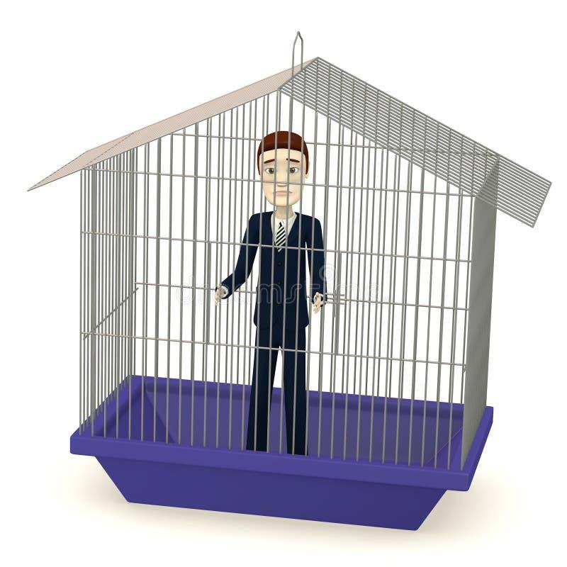 Cartoon businessman in cage. 3d render of cartoon businessman in cage royalty free illustration