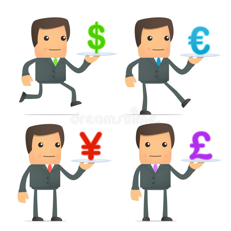 Cartoon Businessman Carries A Tray Of Currency Stock Image