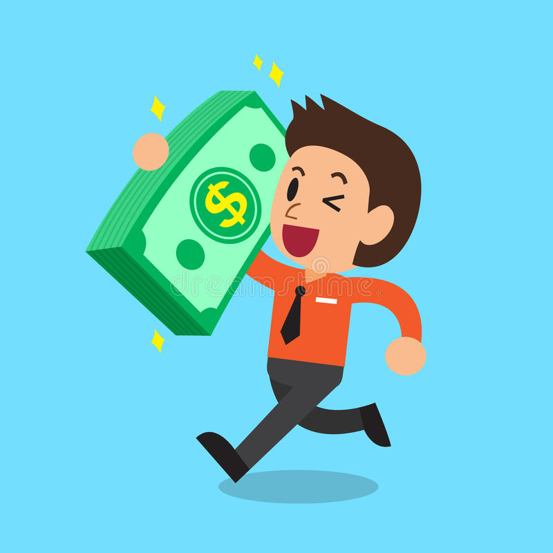 Cartoon businessman carrying big money stack royalty free illustration