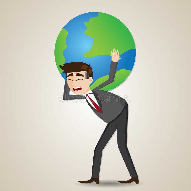 Cartoon businessman carrying globe on shoulder stock illustration