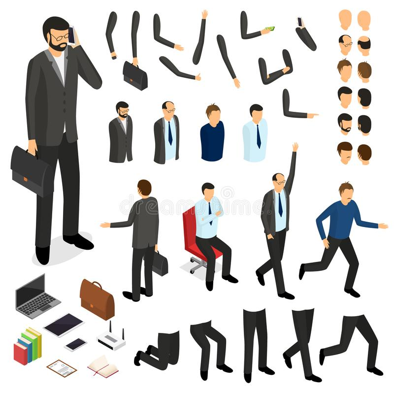 Cartoon Businessman Character Creation Set. Vector vector illustration