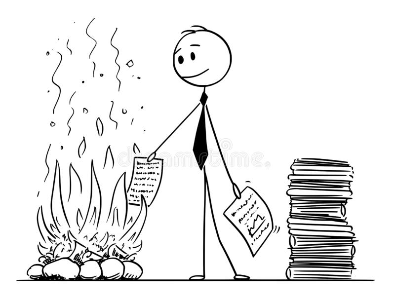 Cartoon of Businessman or Clerk Burning Paper Documents in Fireplace royalty free illustration