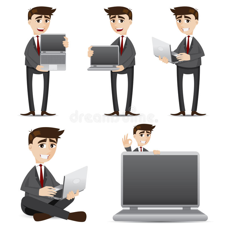 Cartoon businessman with computer laptop set. Illustration of cartoon businessman with computer laptop set stock illustration