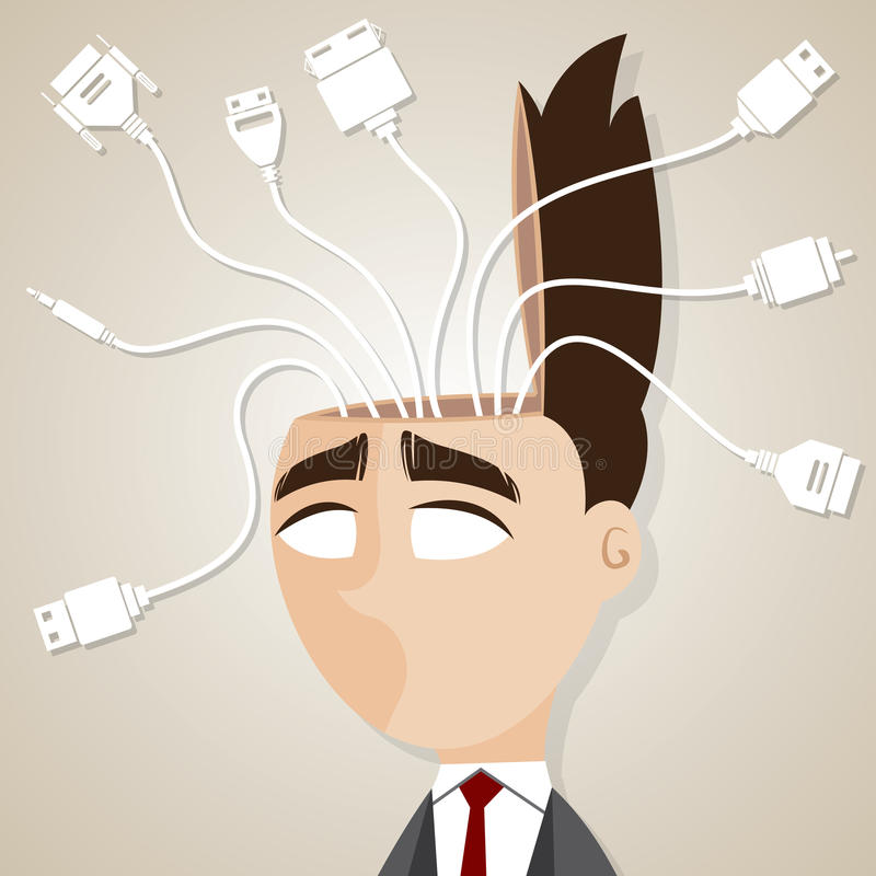 Cartoon businessman with connecting cable in his head stock illustration