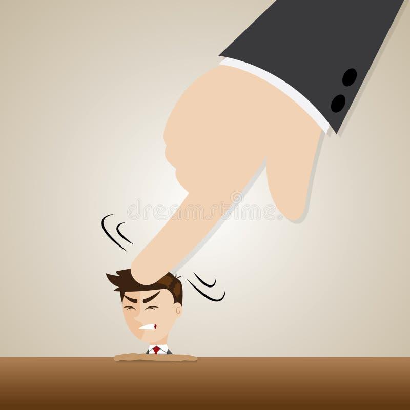 Cartoon businessman crushed head by boss hand stock illustration