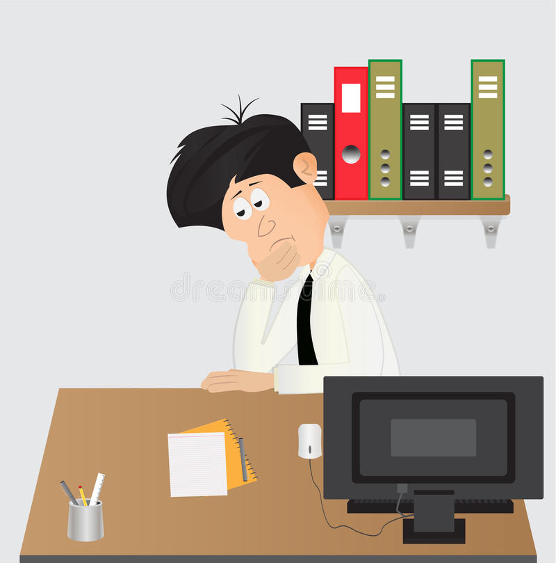 Cartoon businessman daydream. Cartoon businessman while daydreaming at work desk stock illustration