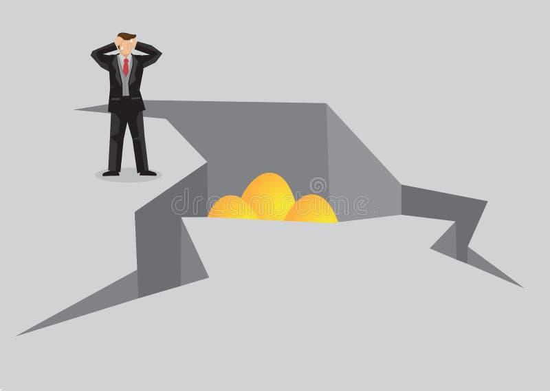 Businessman Distress about Golden Eggs in Cracks Cartoon Vector royalty free illustration