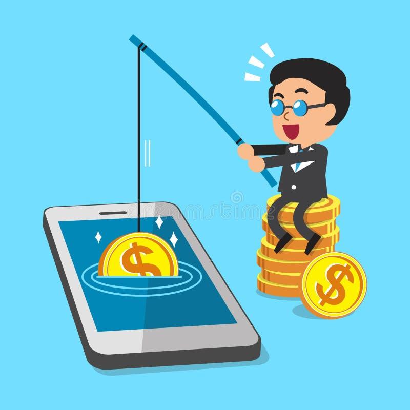 Cartoon Businessman Earning Money With Smartphone Stock Vector ...