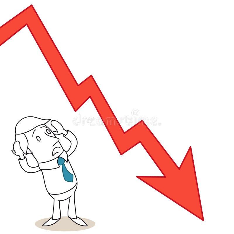 Cartoon businessman graph crashing panic stock illustration