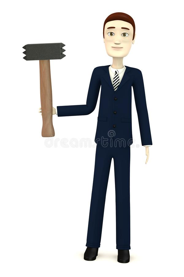 Download Cartoon Businessman With Hammer - For Stonework Stock Images - Image: 31185204