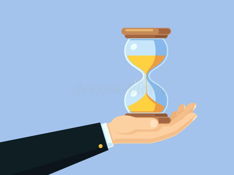 Cartoon businessman hand holding antique hourglass. Time management vector business concept with sand clock royalty free illustration