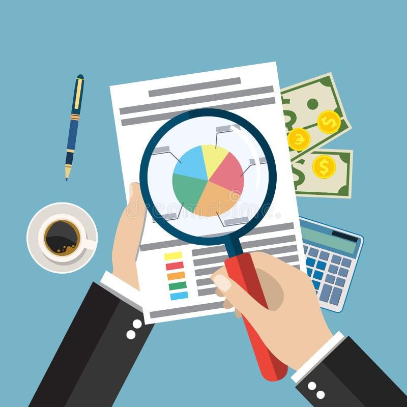 Cartoon businessman hands with magnifier analysis paper sheet. Calculator, pen. auditing tax, financial market analysis, seo, financial report. vector stock illustration