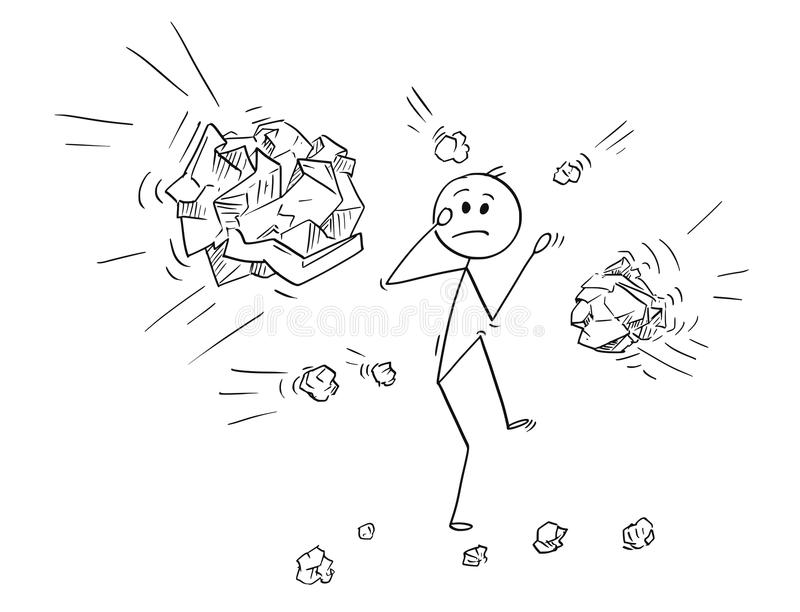 Cartoon of Businessman Hit or Stoned by Crumpled Paper Balls. Cartoon stick man drawing conceptual illustration of businessman stoned or hit by crumpled paper stock illustration