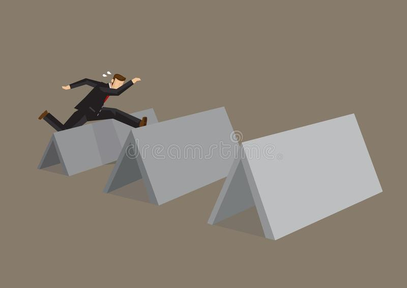 Cartoon Businessman Hurdles Over Obstacles Vector Cartoon Illustration royalty free illustration