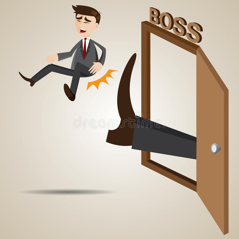 Cartoon businessman kicked out of boss room. Illustration of cartoon businessman kicked out of boss room vector illustration