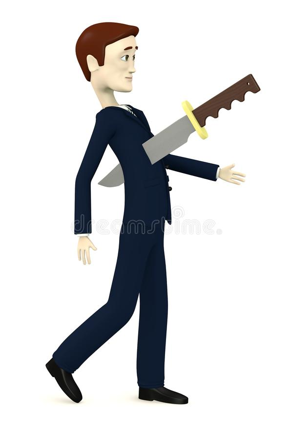 Cartoon businessman with a knife in chest vector illustration