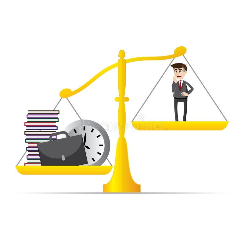 Cartoon businessman and lot of work on balance scale. Illustration of cartoon businessman and lot of work on balance scale in workload concept vector illustration