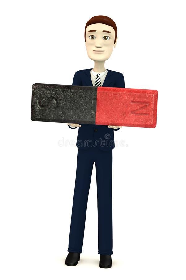 Cartoon businessman with magnet. 3d render of cartoon businessman with magnet stock illustration