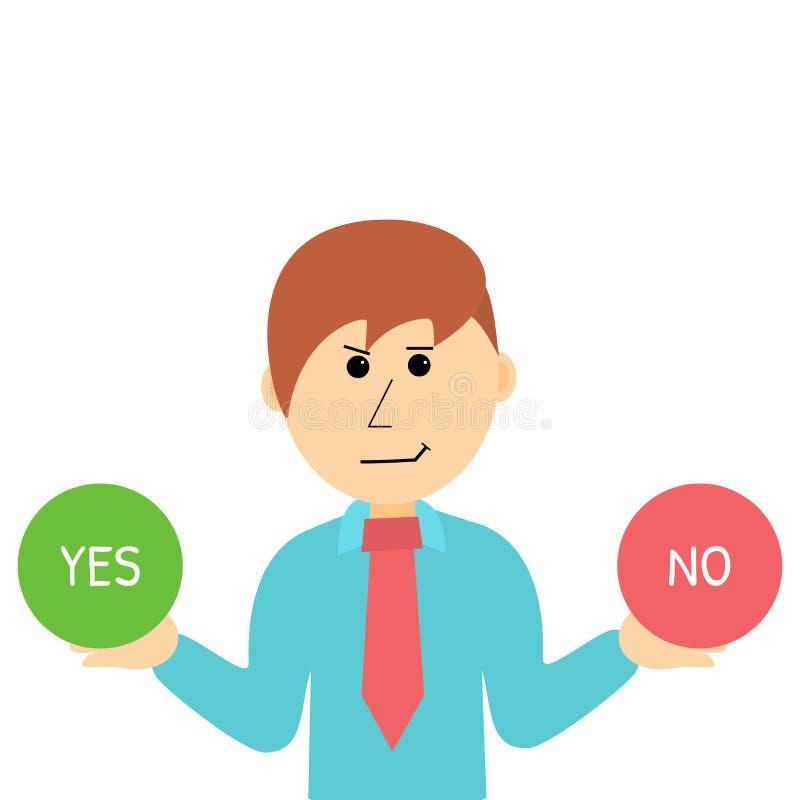 Cartoon Businessman Makes Desicion. Choose Yes or No. stock photos