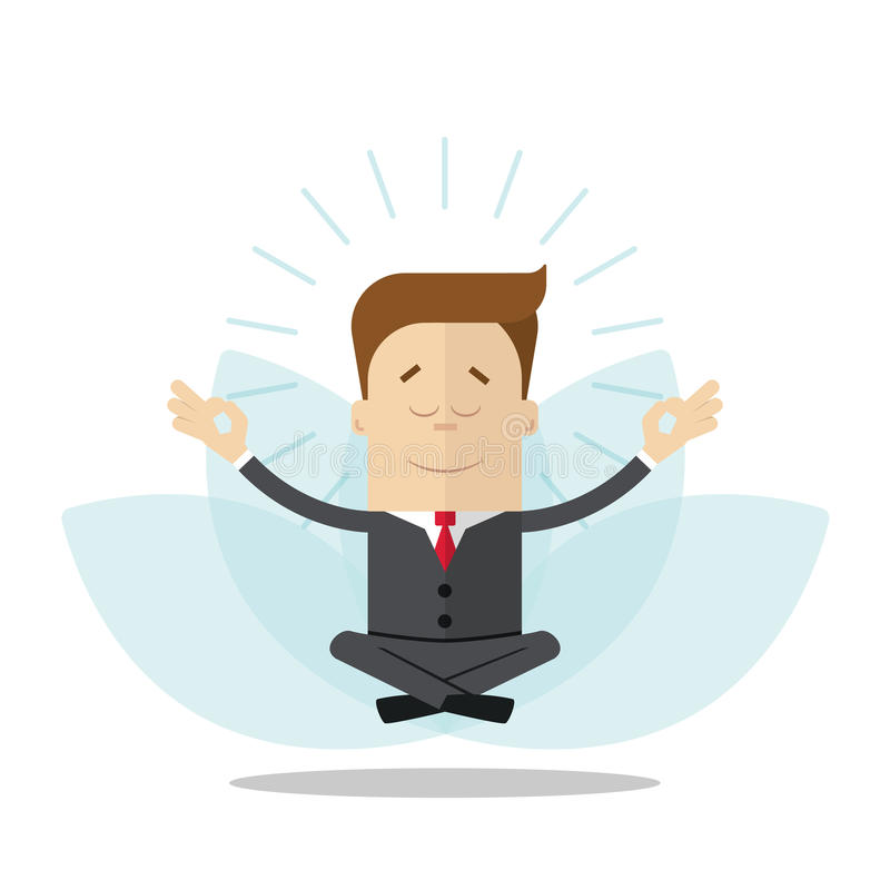 Cartoon businessman or manager meditates in the lotus position. Isolated on white background. Cartoon businessman or manager meditates in the lotus position royalty free illustration