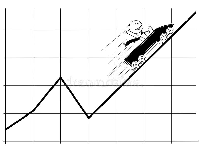 Cartoon of Businessman Moving in Roller Coaster Fast High or Up On the Business Chart or Graph. Cartoon stick man drawing conceptual illustration of businessman vector illustration