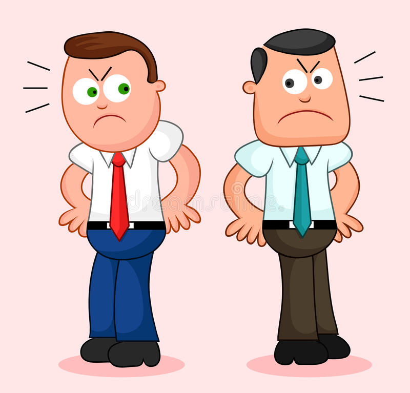 Cartoon Businessman Pair. Angry and turned away from each other.