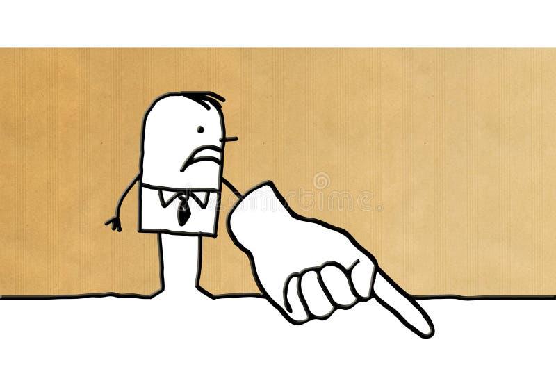 Cartoon businessman pointing finger down royalty free illustration