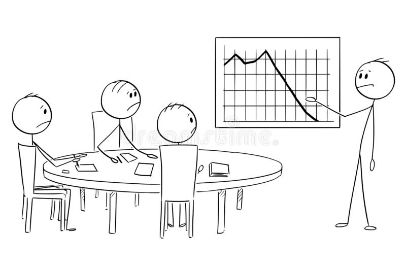 Cartoon of Businessman Presenting Bad Financial Results on Business or Work Meeting. Cartoon stick figure drawing conceptual illustration of businessman stock illustration