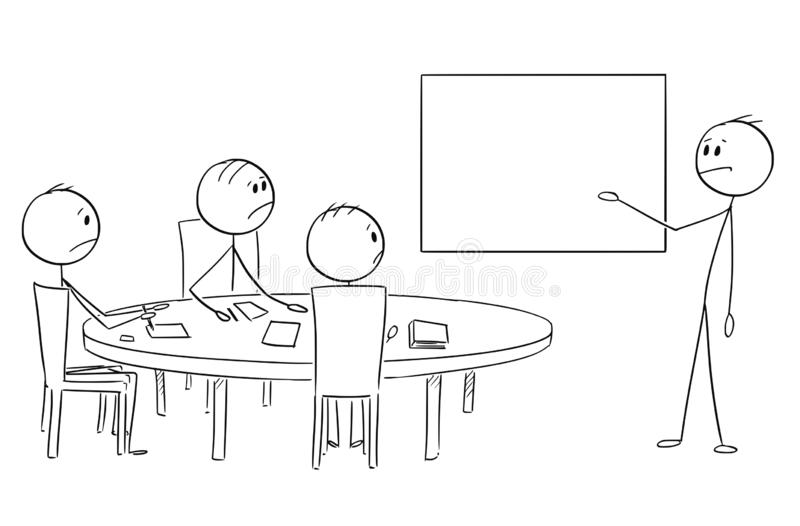 Cartoon of Businessman Presenting Empty Table on Business or Work Meeting. Cartoon stick figure drawing conceptual illustration of businessman presenting failure stock illustration