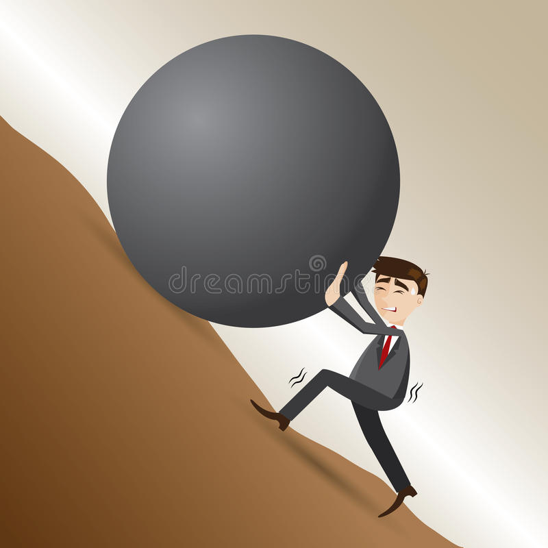 Free Cartoon Businessman Push Steel Ball On Moutain Royalty Free Stock Images - 41062539