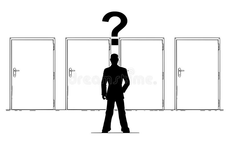Cartoon of Businessman with Question Mark Above Head is Choosing Right Door royalty free illustration