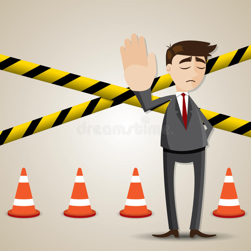 Cartoon businessman with restricted area. Illustration of cartoon businessman with restricted area vector illustration